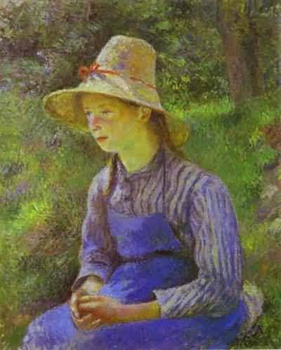Camille Pissarro Young Peasant Girl Wearing a Hat Oil Painting