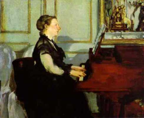 Edouard Manet Mme Manet at the Piano Oil Painting