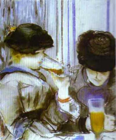 Edouard Manet Two Women Drinking Bocks Oil Painting