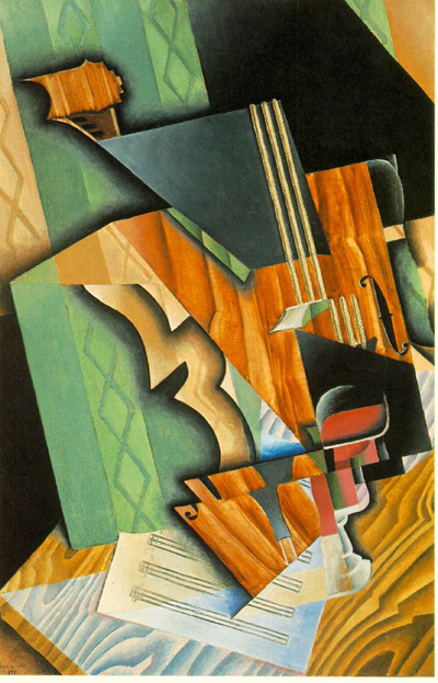 Juan Gris Violin and Glass Oil Painting