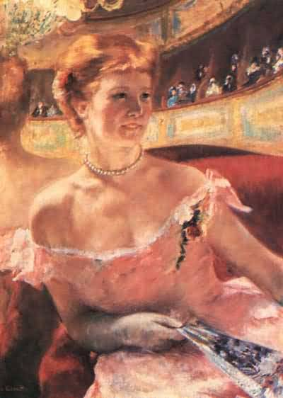 Mary Cassatt Lydia in a Loge Wearing a Pearl Necklace Oil Painting