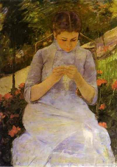 Mary Cassatt Sewing Woman Oil Painting