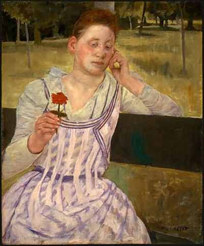 Mary Cassatt Woman with a Red Zinnia Oil Painting