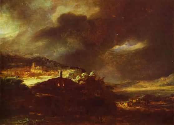 Rembrandt van Rijn Paysage D Orage Oil Painting