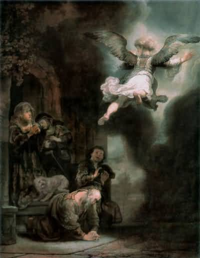 Rembrandt van Rijn The Archangel Leaving The Family of Tobias Oil Painting