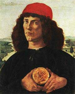 Sandro Botticelli Portait of a Man with the Medal of Cosimo the Elde Oil Painting