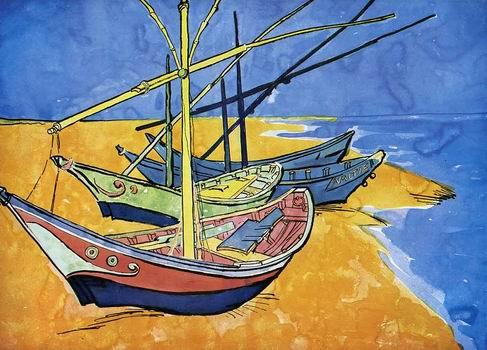Fishing Boats on the Beach at Saintes Maries,Arles: late June, 1888