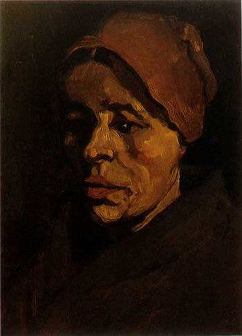 Head of a Peasant Woman with Brownish Cap ,Nuenen: January, 1885