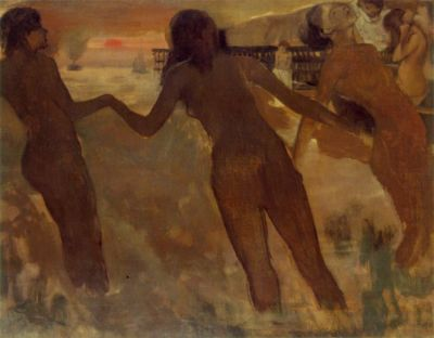 Peasant Girls Bathing in the Sea at Dusk