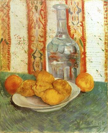 Still Life with Decanter and Lemons on a Plate,Paris: Spring, 1887