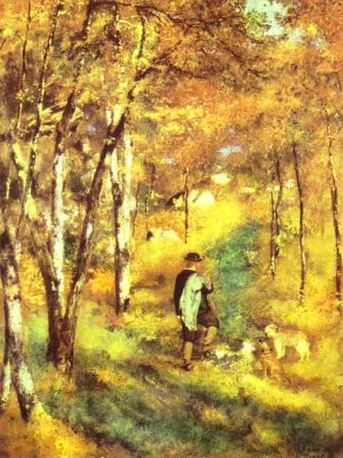 Young Man Walking with Dogs in Fontainebleau Forest. 1866