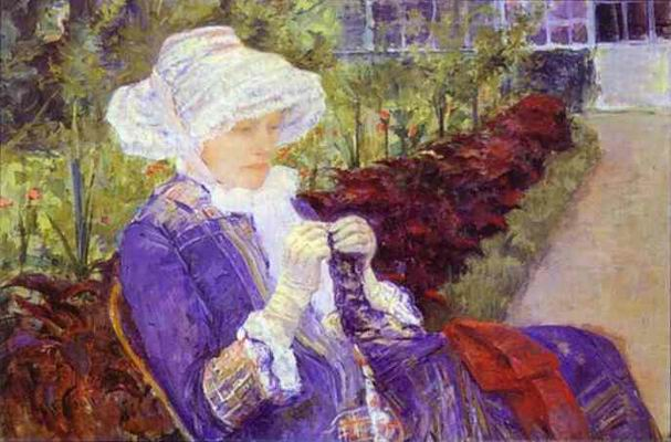 Lydia Crocheting in the Garden at Marly. 1880.