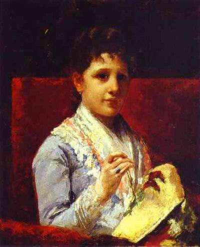 Mary Ellison Embroidering. 1877