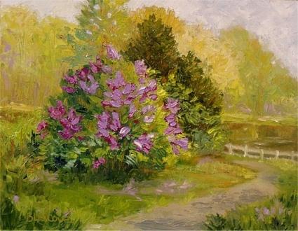 Impressionist Landscape Spring Afternoon Lilacs