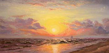 Sailboats in the Sunset II ~ 8/30/08 A Painting a Day Hudson River School Landscapes Paintings by