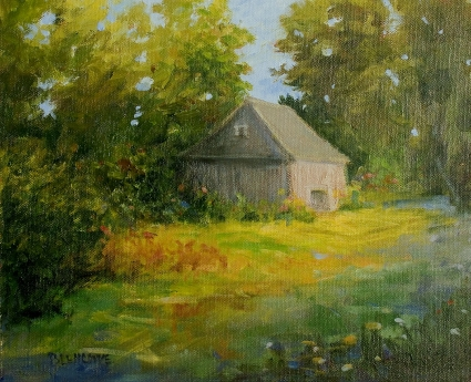 Contemporary Impressionist Landscape with Farm Shed