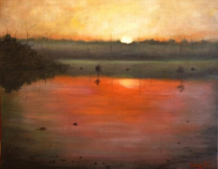Golden Sunrise ~ A Painting a Day Hudson River School Luminous Landscapes by Connie Tom