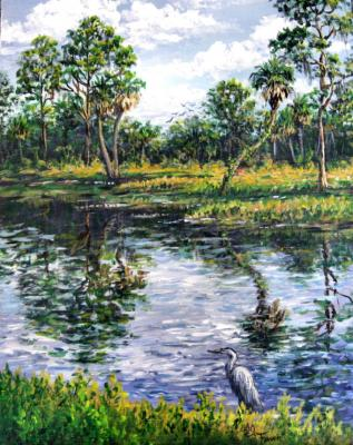 Out Fishing, Blue Heron,Impressionism Landscape