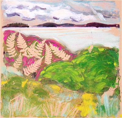 Deer Isle Landscape 12x12 gelatin monoprint on paper