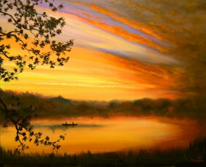 Fishing at First Light ~ 9/19/08 A Painting a Day Hudson River School landscapes by Connie Tom