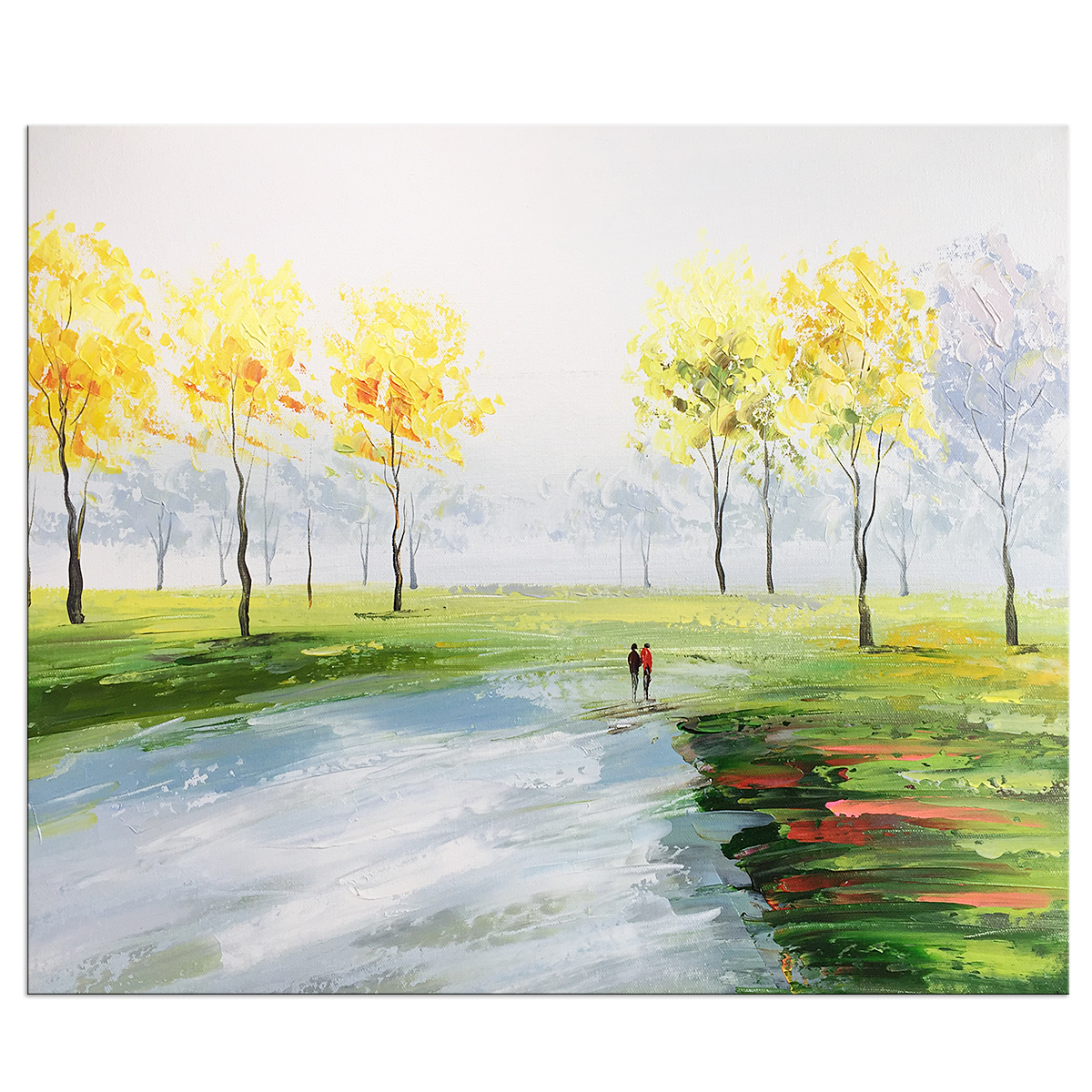 Hand Painted Oil Paintings on Canvas Wall Art Modern Contemporary Abstract Landscape Artwork Ready