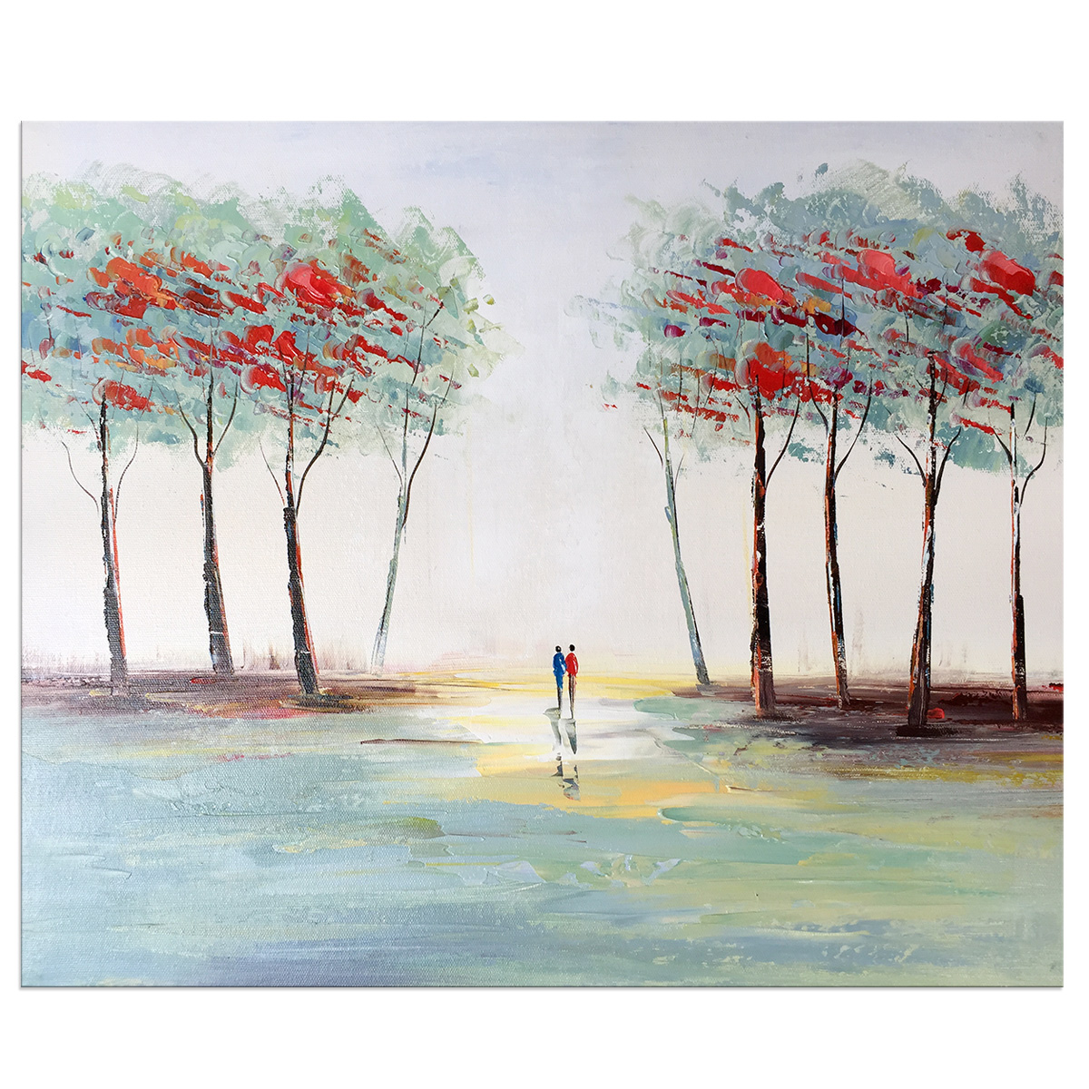 Modern Abstract Landscape Stretched and Framed Hand Painted Oil Painting On Canvas Wall Art Deco