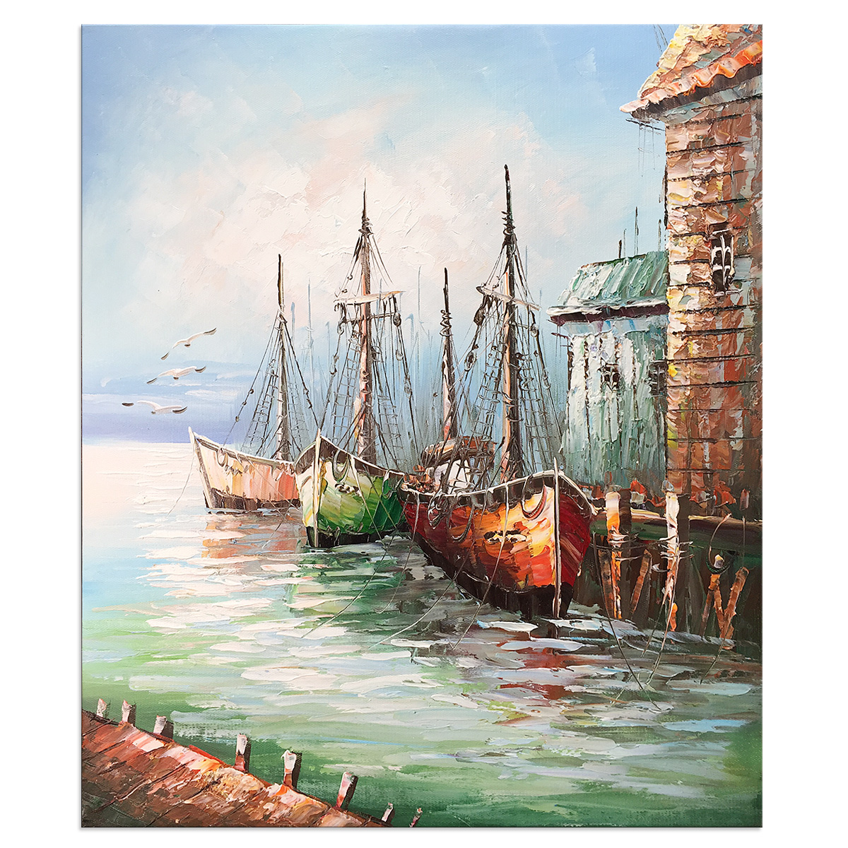 Modern Hand Painted Oil Paintings on Canvas Stretched and Framed Contemporary Abstract Boat Artwork