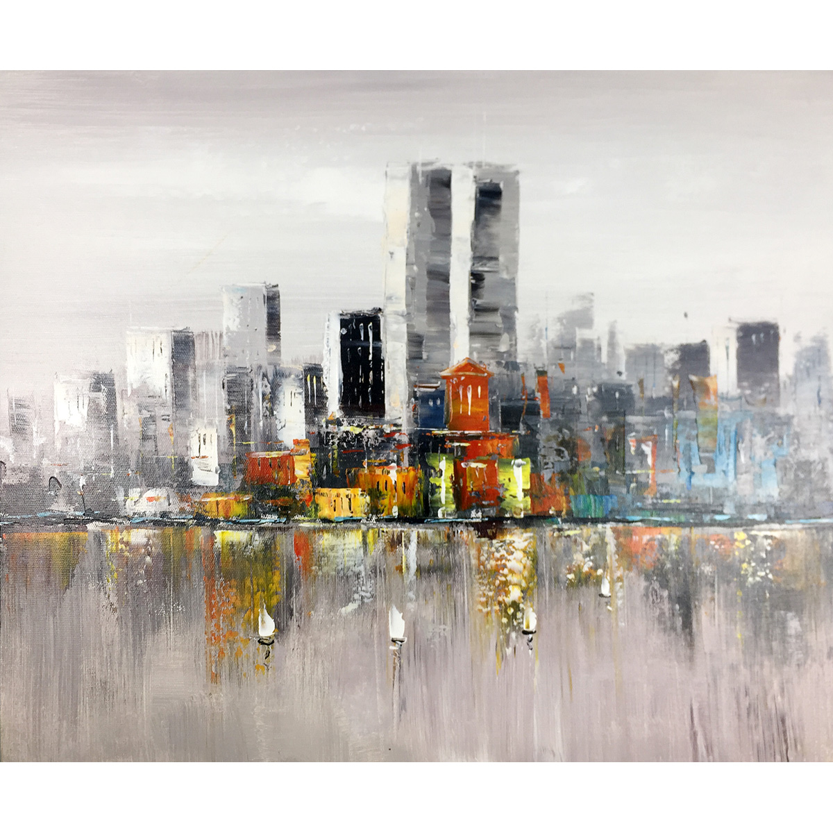 Modern Paintings High-Rise Buildings Hand Painted Abstract Oil Paintings on Canvas Stretched and