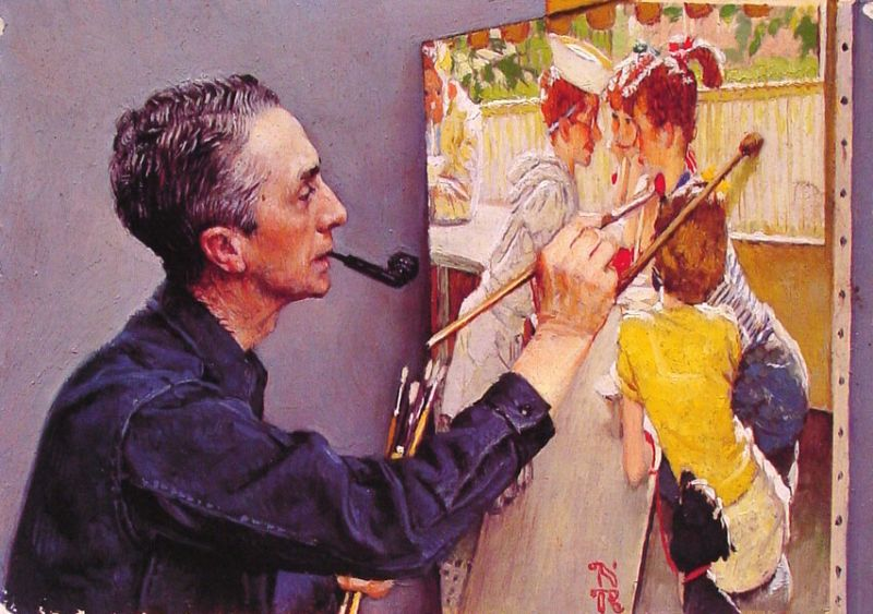 Norman Rockwell Painting the Soda Jerk