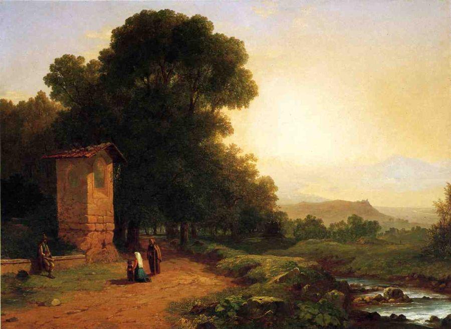 The Shrine A Scene in Italy