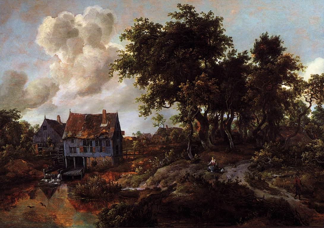 A Watermill Beside a Woody Lane
