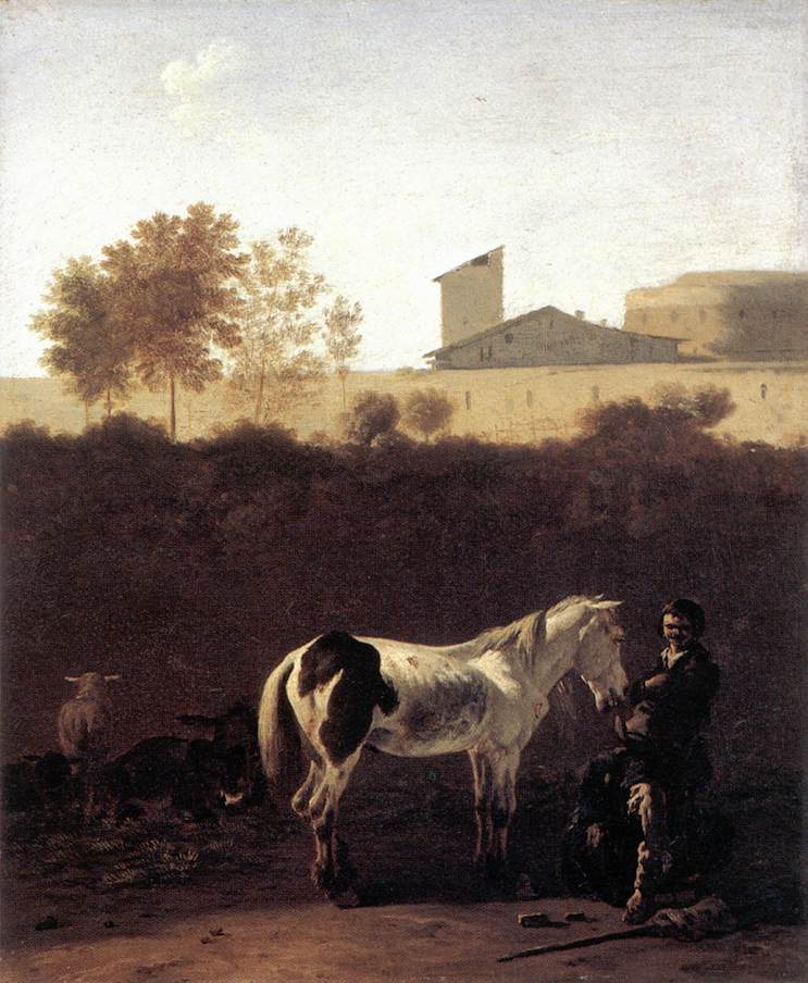 Italian Landscape with Herdsman and a Piebald Horse