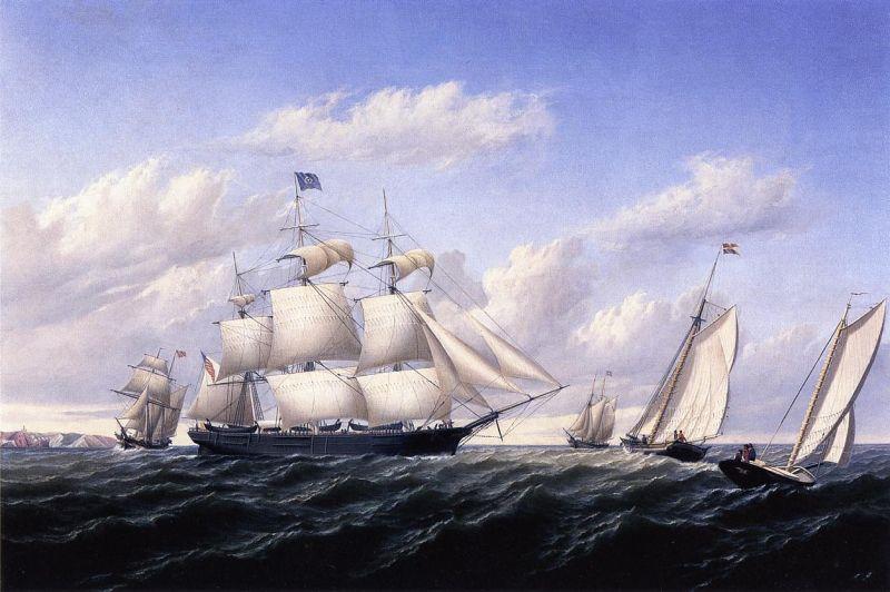 Whaleship 'Speedwell' of Fairhaven, Outward Bound off Gay Head