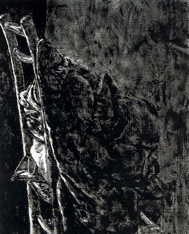 A Bedspread On A Chair, At Night