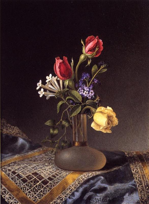 Flowers in a Frosted Vase