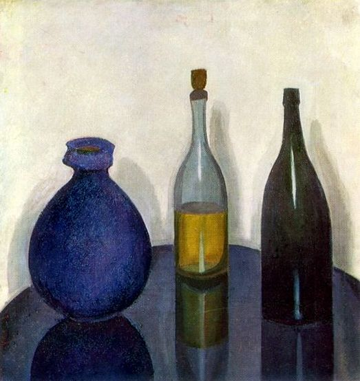 Still Life, Bottles And A Pitcher