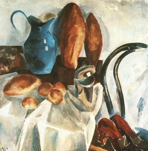 Still Life, Bread And A Pitcher