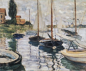 Claude Monet Sailboats in the Boat Rental Area, 1874