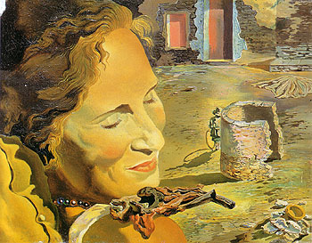 Salvador Dali Gala with Two Lamb Chops in Equilibrium on Her Shoulder 1933