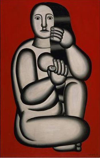 Fernand Leger Nude on a Red Background (Seated Woman) 1927
