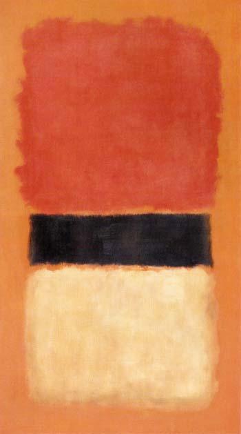 Mark Rothko Black Stripe Orange Gold Black 1957