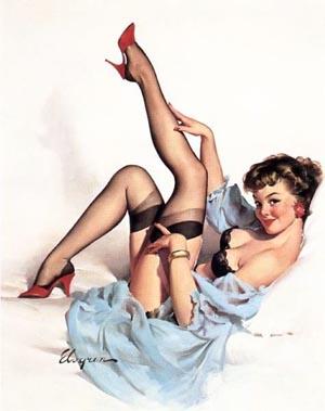 Pin Ups Gil Elvgren, Black Stockings