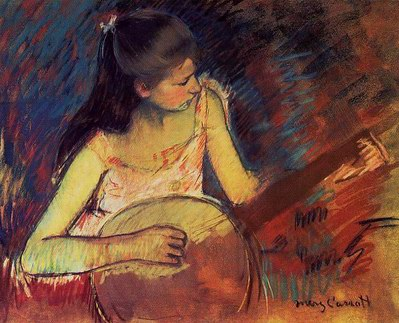 Mary Cassatt Girl with a Banjo oil painting reproduction