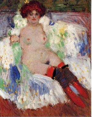 Pablo Picasso Femme nue aux bas 1901