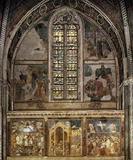 Frescoes in the second bay of the nave