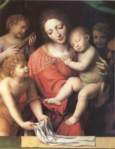 The Virgin Carrying the Sleeping Child with Three Angels (mk05)