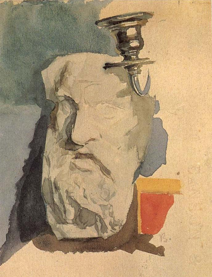 Still life with a Plaster mask and a sconce