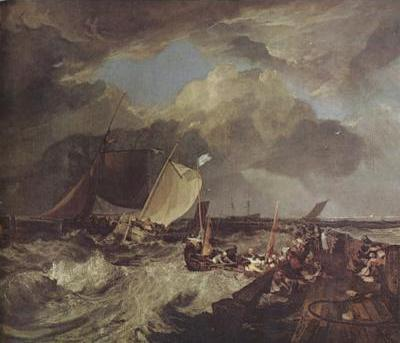 Calais Pier,with French poissards preparing for sea:an English packet arriving (detail) (mk31)