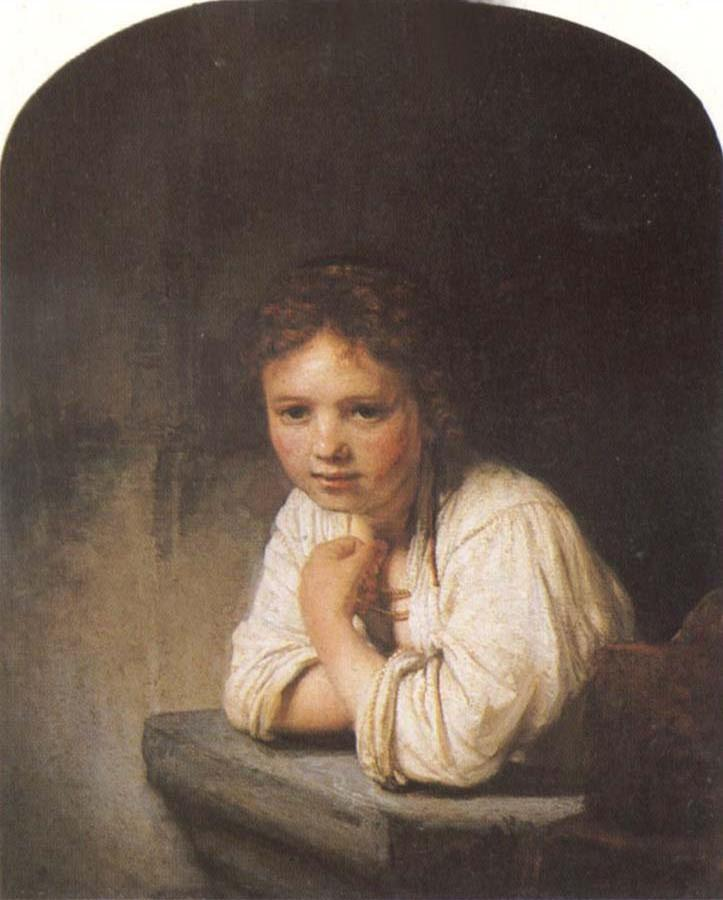 A Young Girl Leaning on a Window Sill