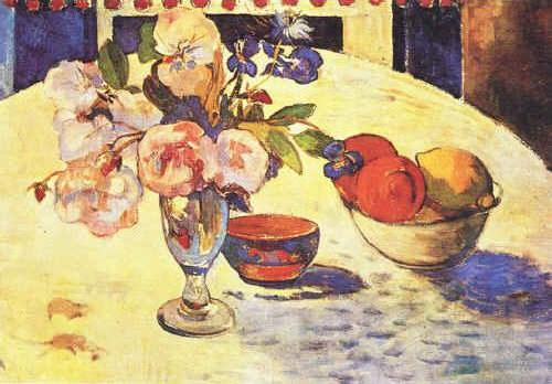 Flowers and a Bowl of Fruit on a Table 4